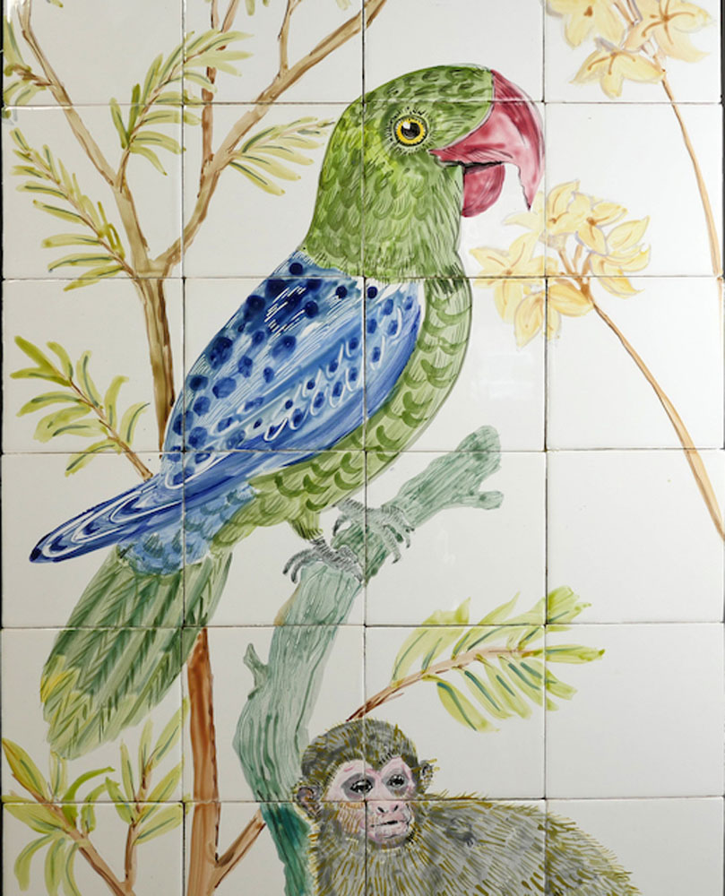 kitchen backsplash tile panel with bird