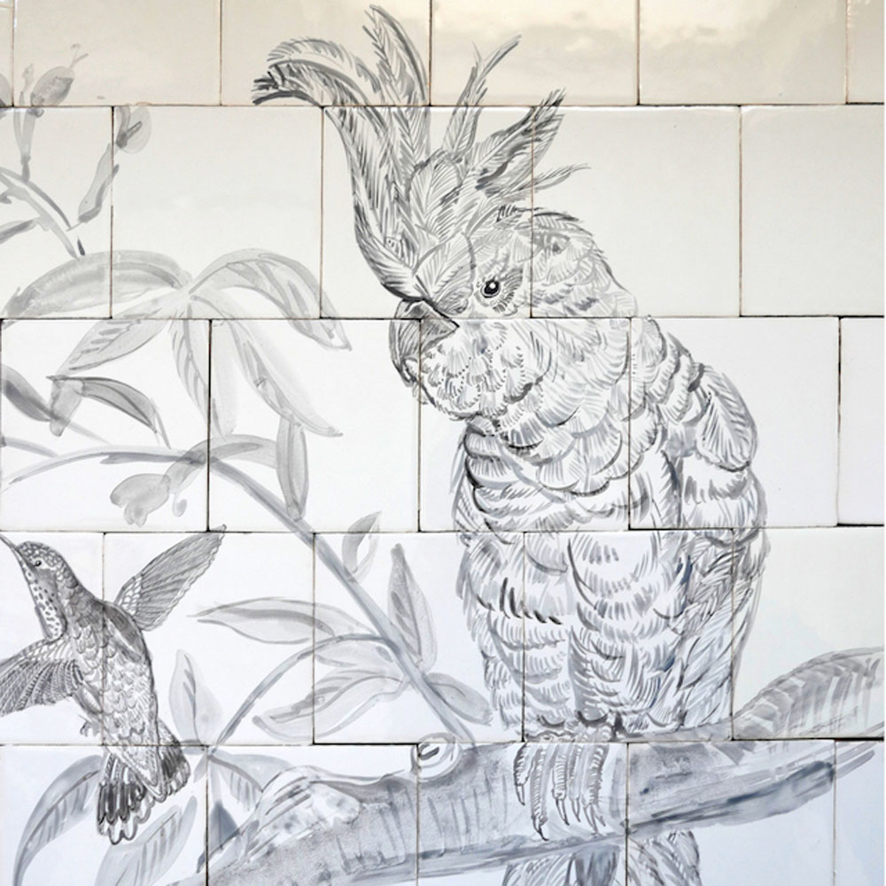 kitchen backsplash tile panel with bird