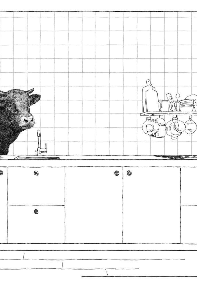 tegeltableau met koe