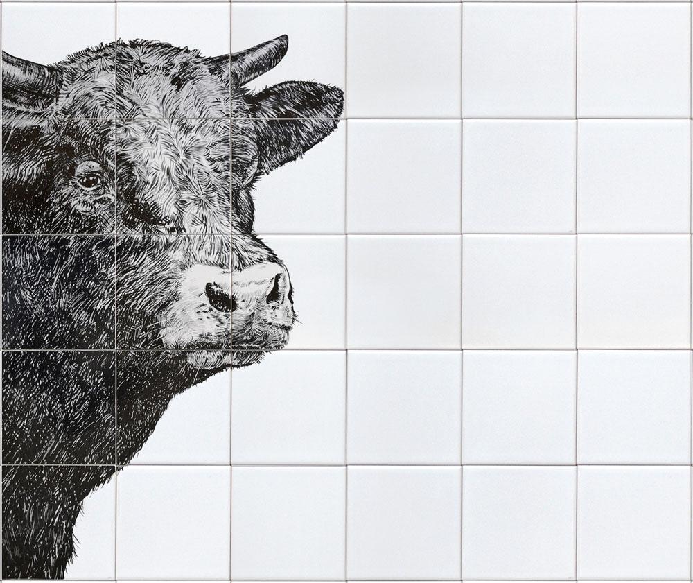 tile panel cow's head