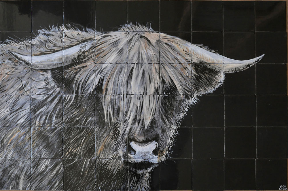 kitchen backsplash tile panel with cow