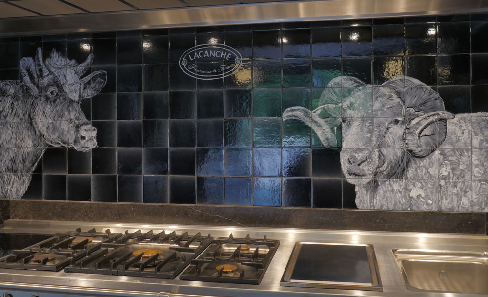 kitchen backsplash tile panel with cow