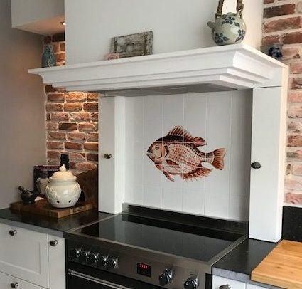 kitchen backsplash tile panel with fish