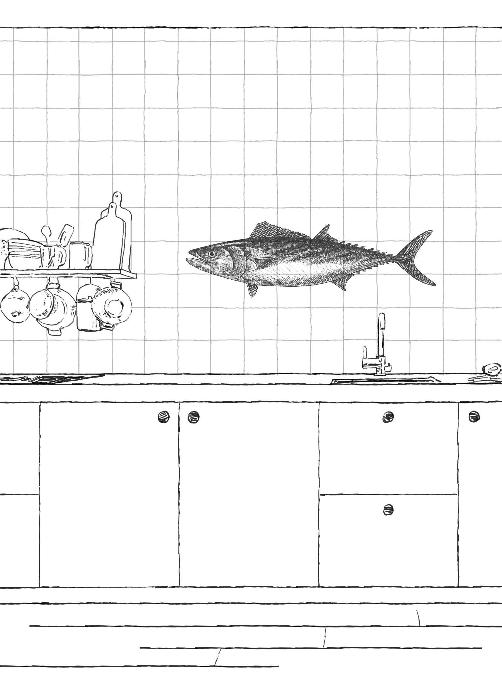 tegeltableau met tonijn