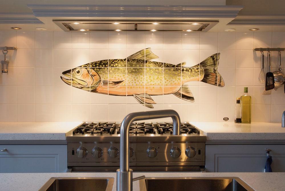 tegeltableau met vis