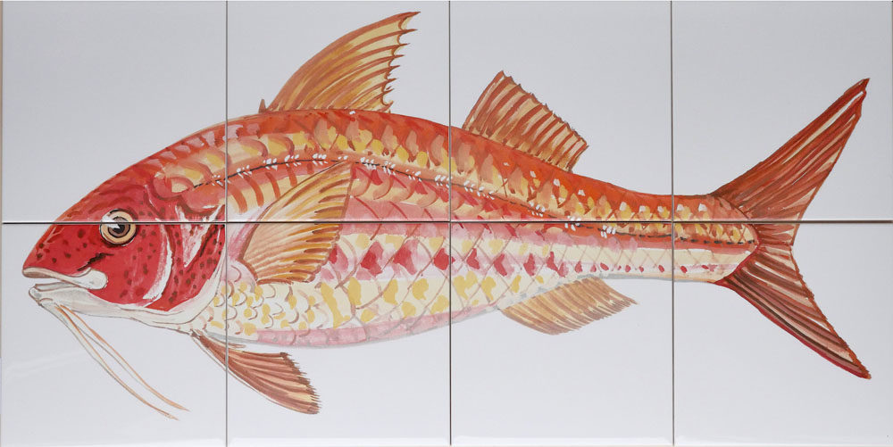 kitchen backsplash tile panel with fish