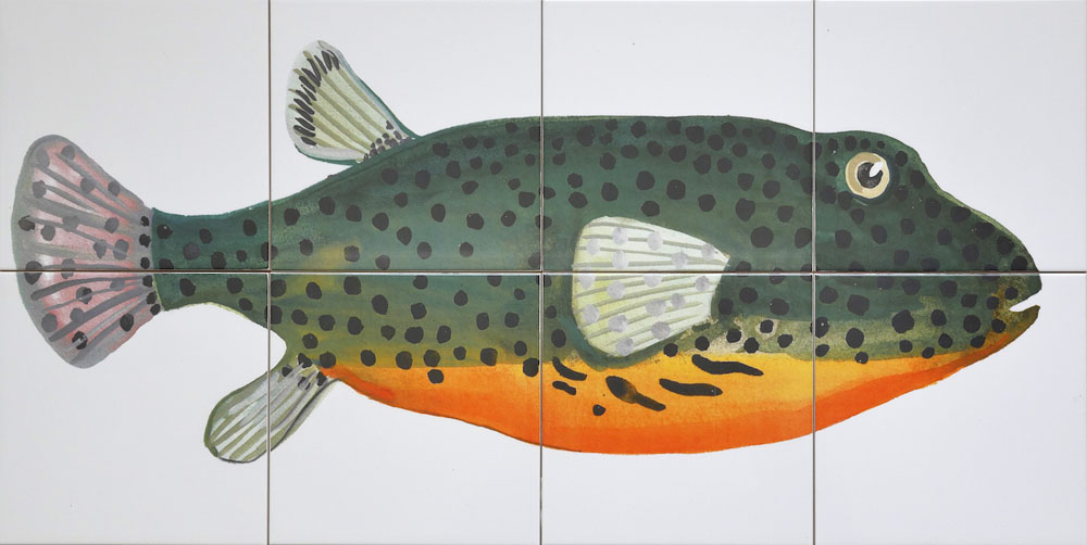 tile panel backsplash with fish