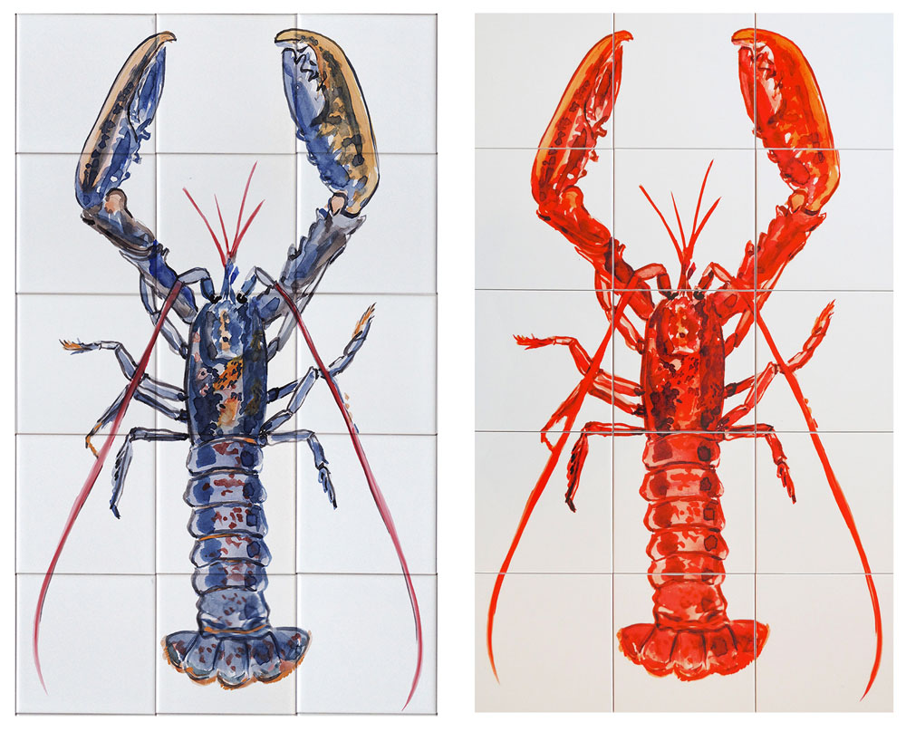 kitchen backsplash tile panel with lobster