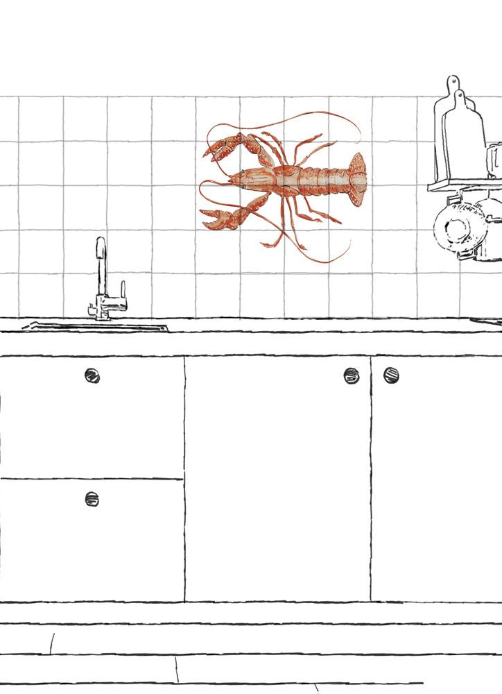 cray fish tile panel