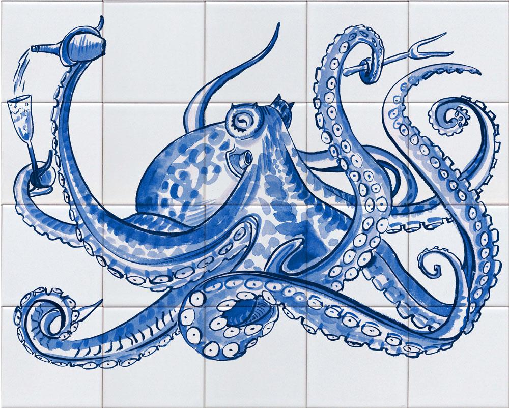 tegeltableau met octopus