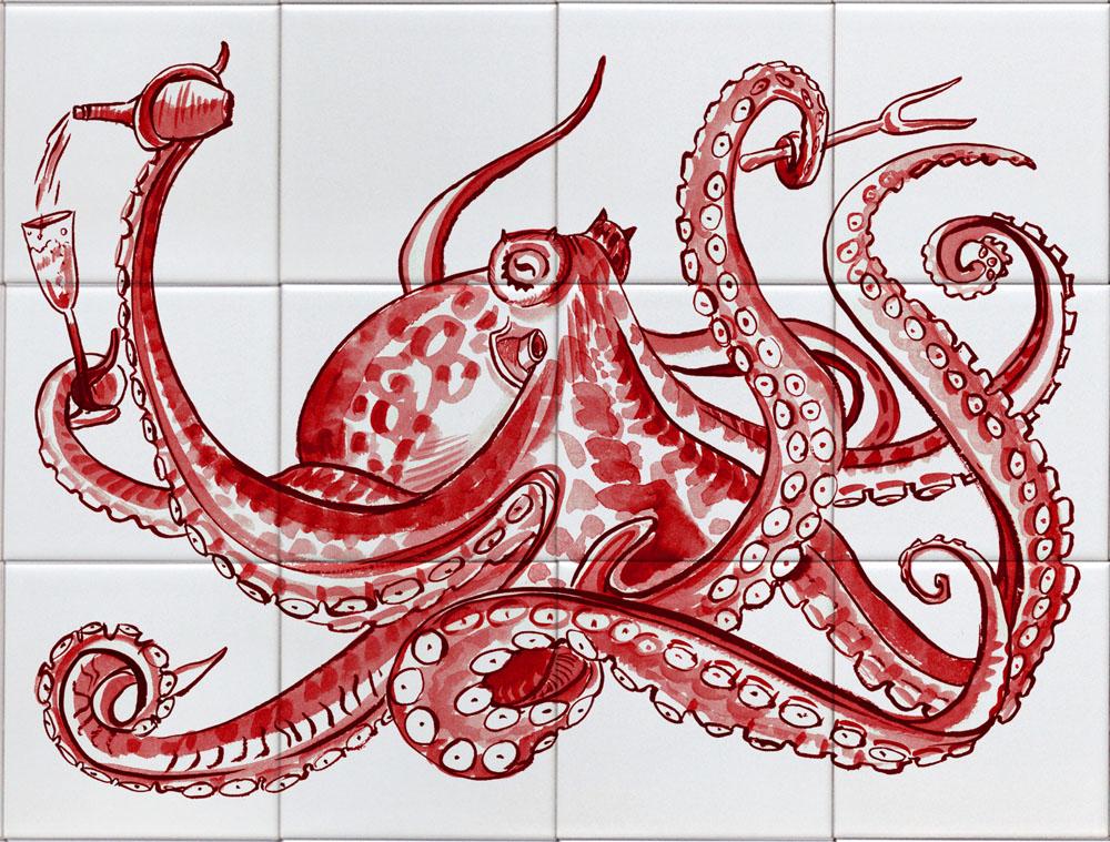 Fliesen-Panel Oktopus