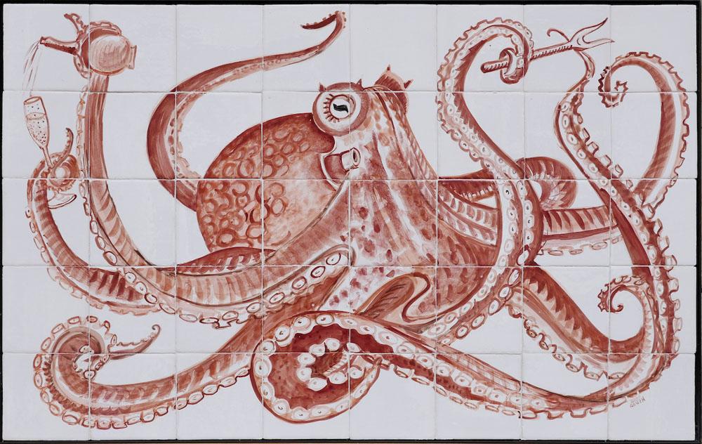 kitchen backsplash tile panel with octopus