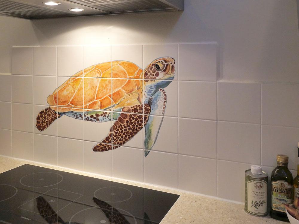 tegeltableau met schildpad
