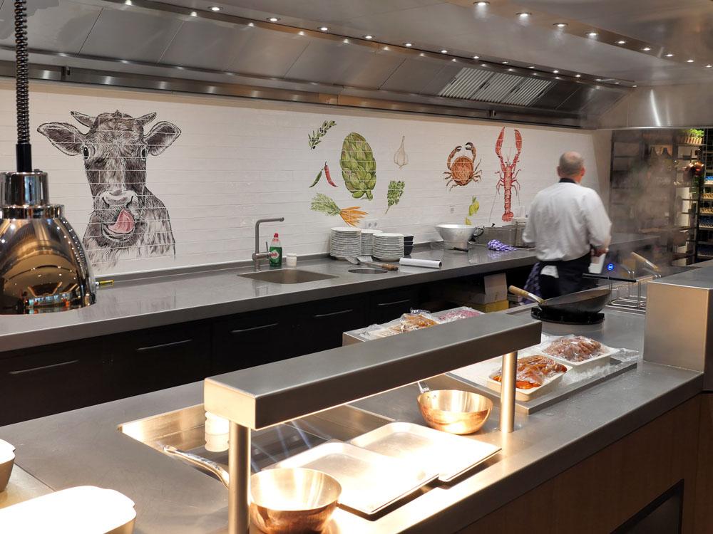 kitchen backsplash tile panel with lobster