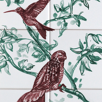 Colored Bird tile panel