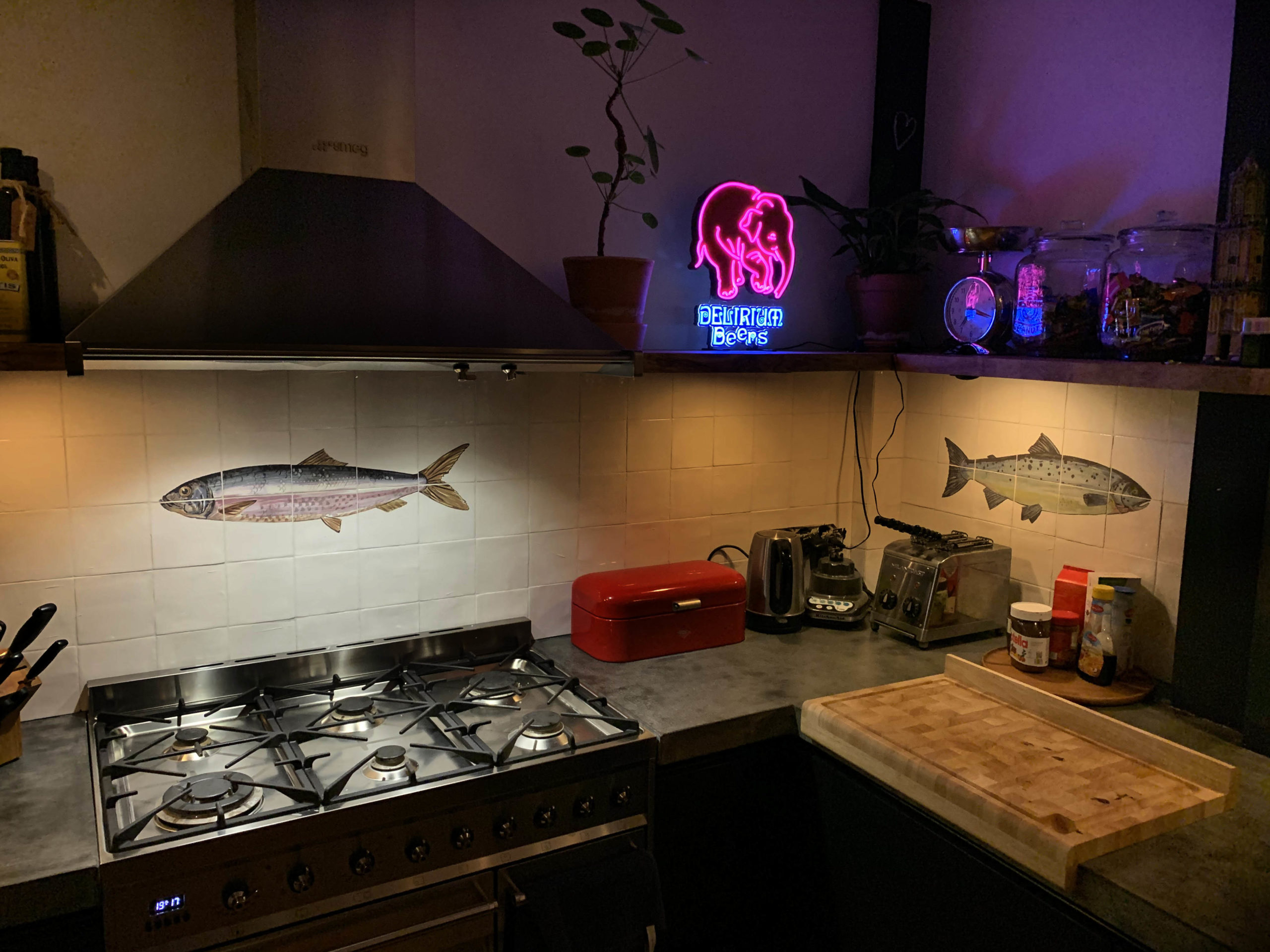 Salmon tile panel, kitchen backsplash tile panel