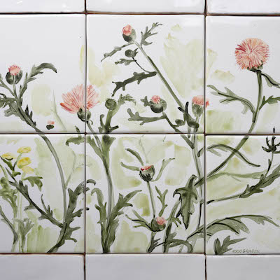 Tile panel with field flowers