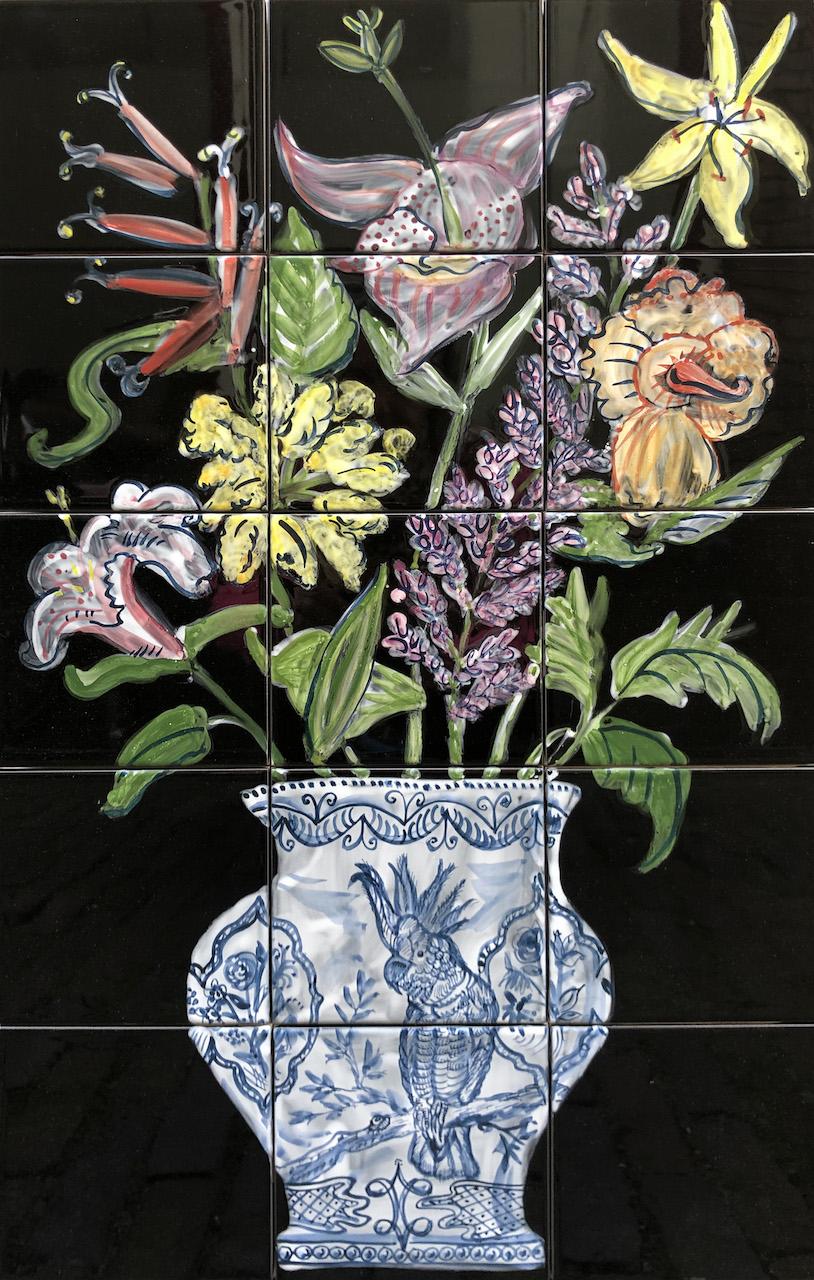 Flowers tile panel
