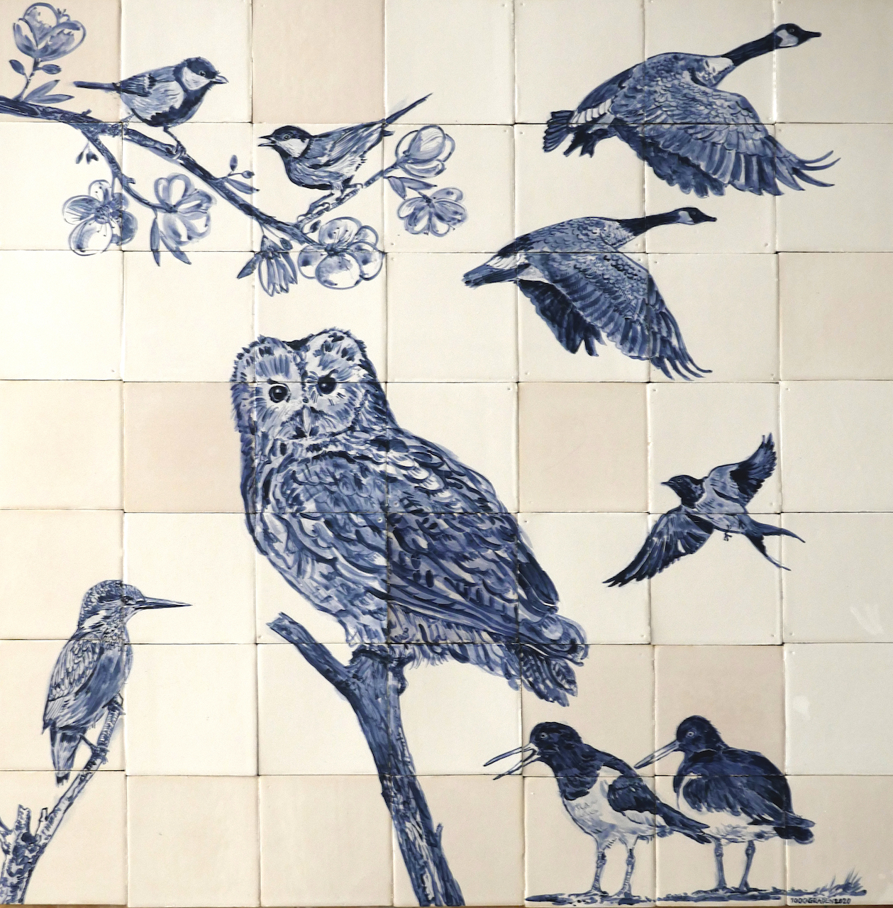 tile panel field birds