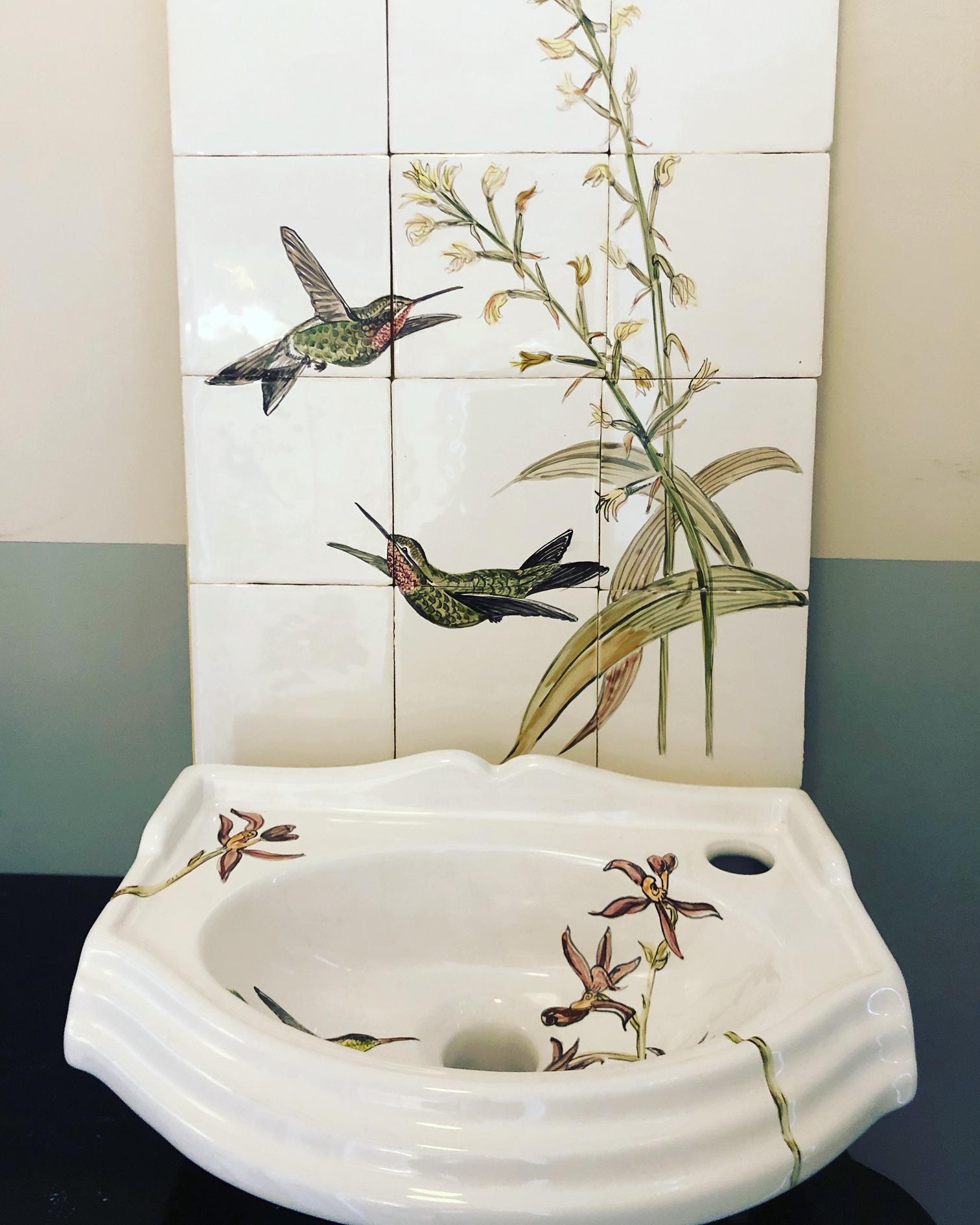 tile panel hummingbirds