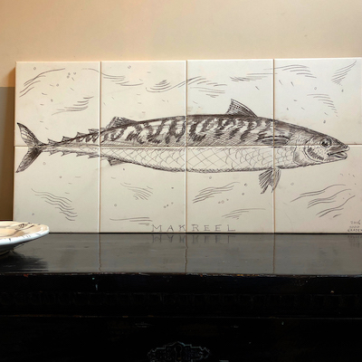 Mackerel in pencil tile panel