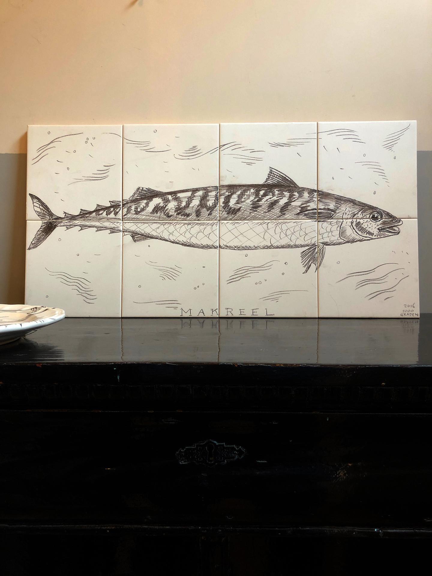 Mackerel in pencil tile panel