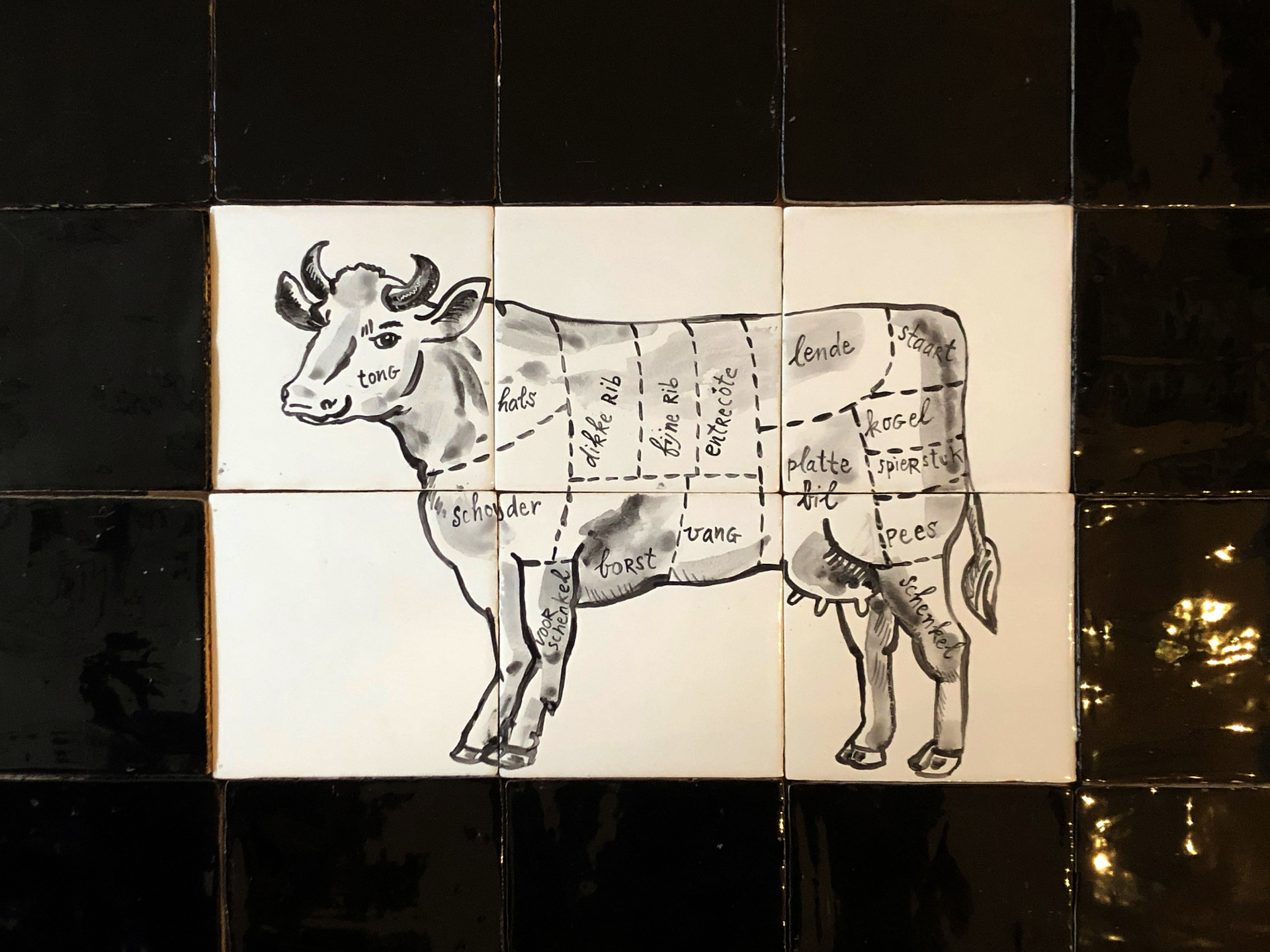 Cow at the butcher's tile panel