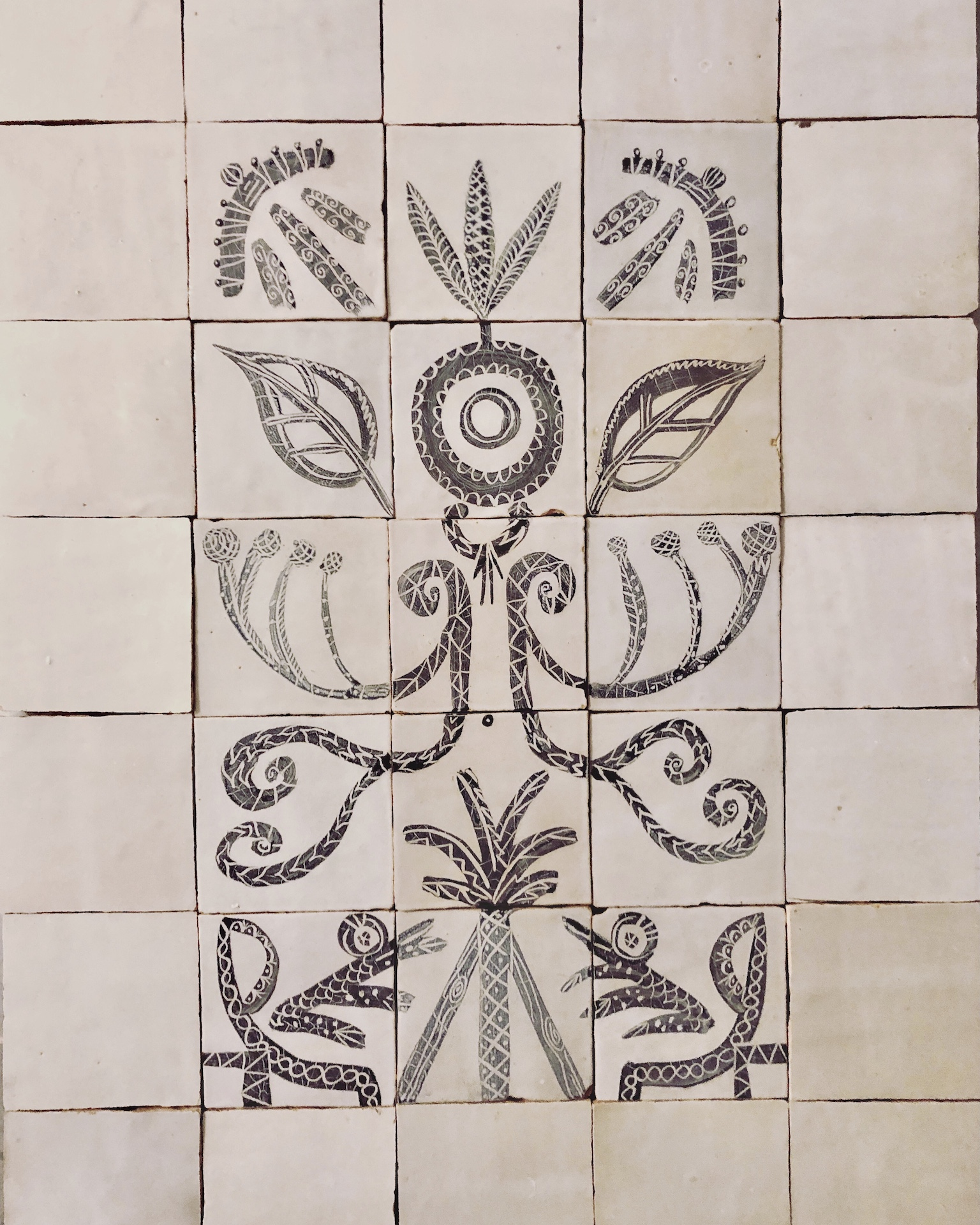 hand painted tile panel