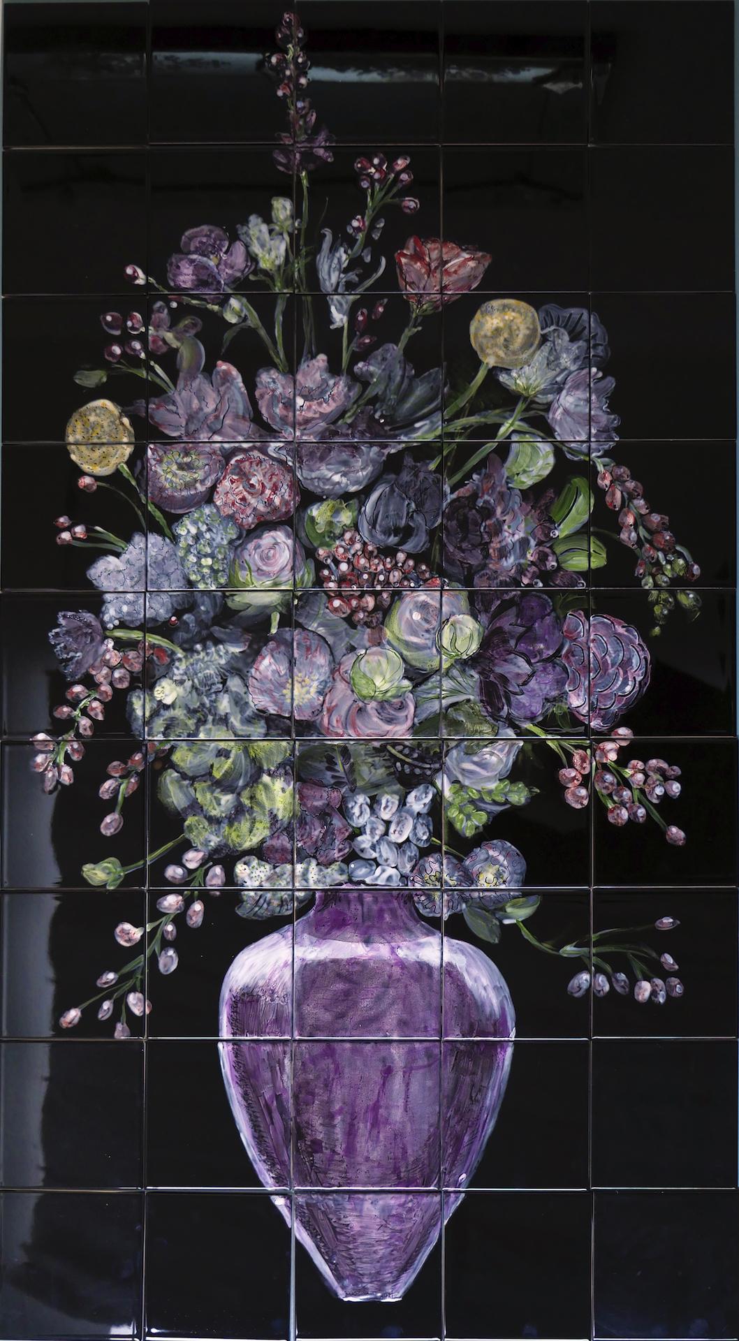 Flawless flowers on black tile panel