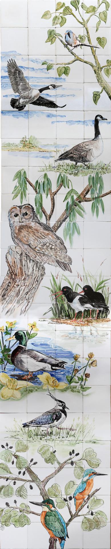 river delta birds tile panel