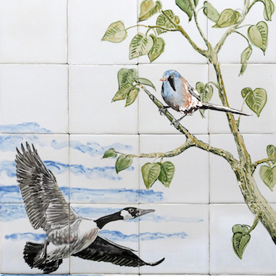 wild ducks tile panel