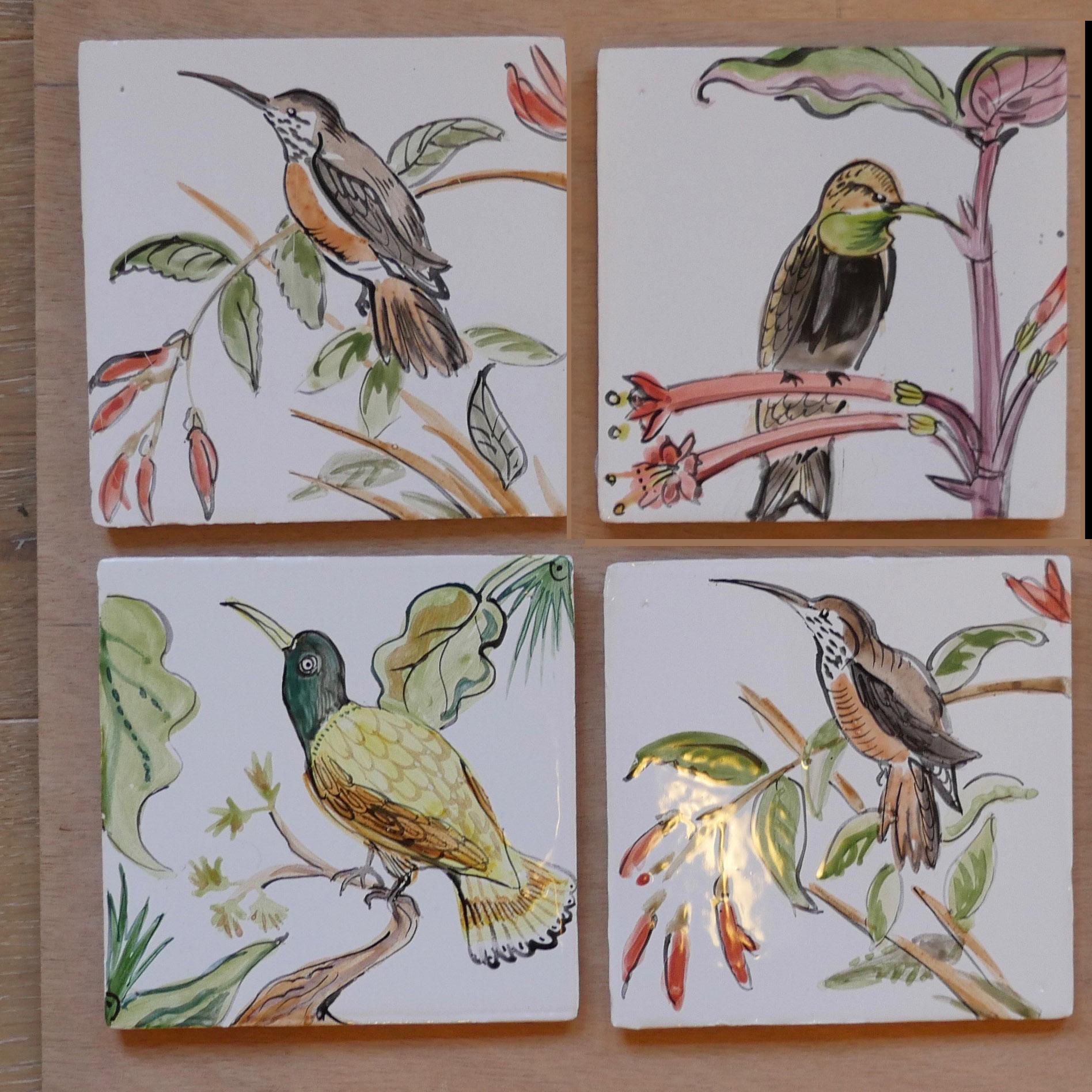 tiles humming birds