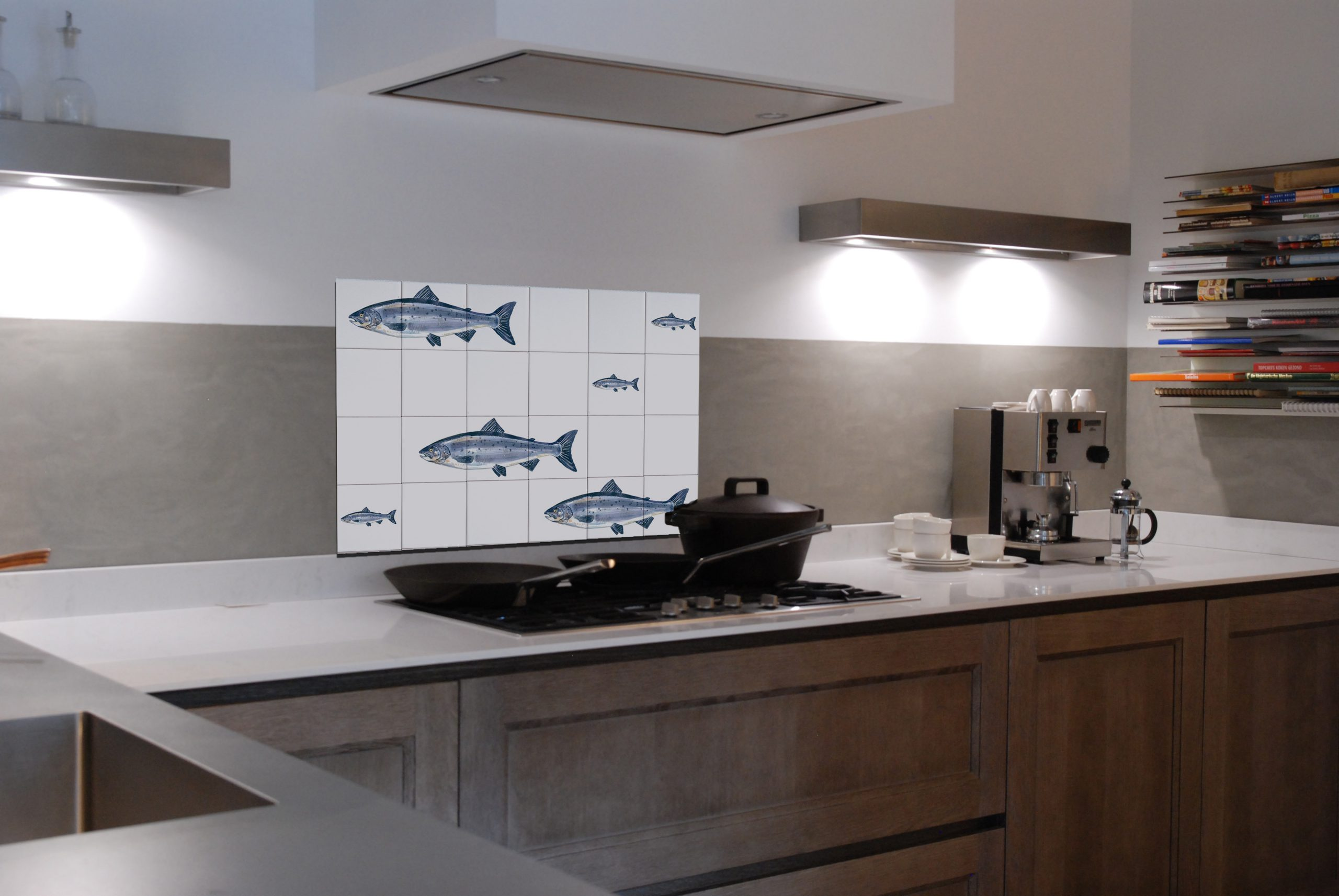 Salmon backsplash panel